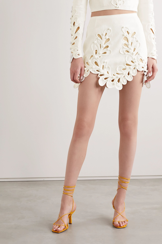 Zimmermann Brightside Rouleaux cutout linen mini skirt