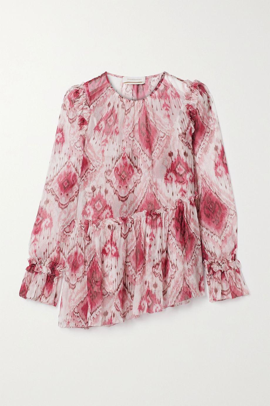 Zimmermann Asymmetrische Bluse aus Seidenkrepon mit Print und Rüschen