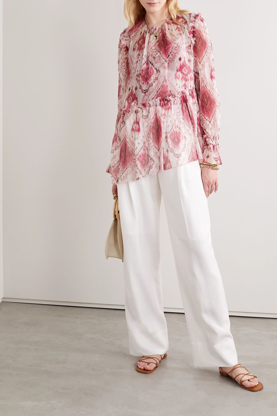 Zimmermann Asymmetric ruffled printed silk-crepon blouse