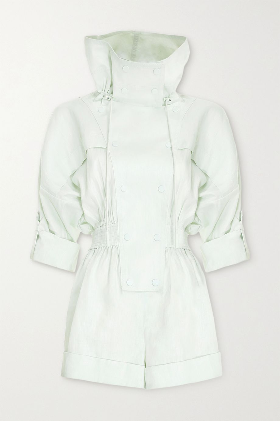 Zimmermann Glassy hooded linen playsuit