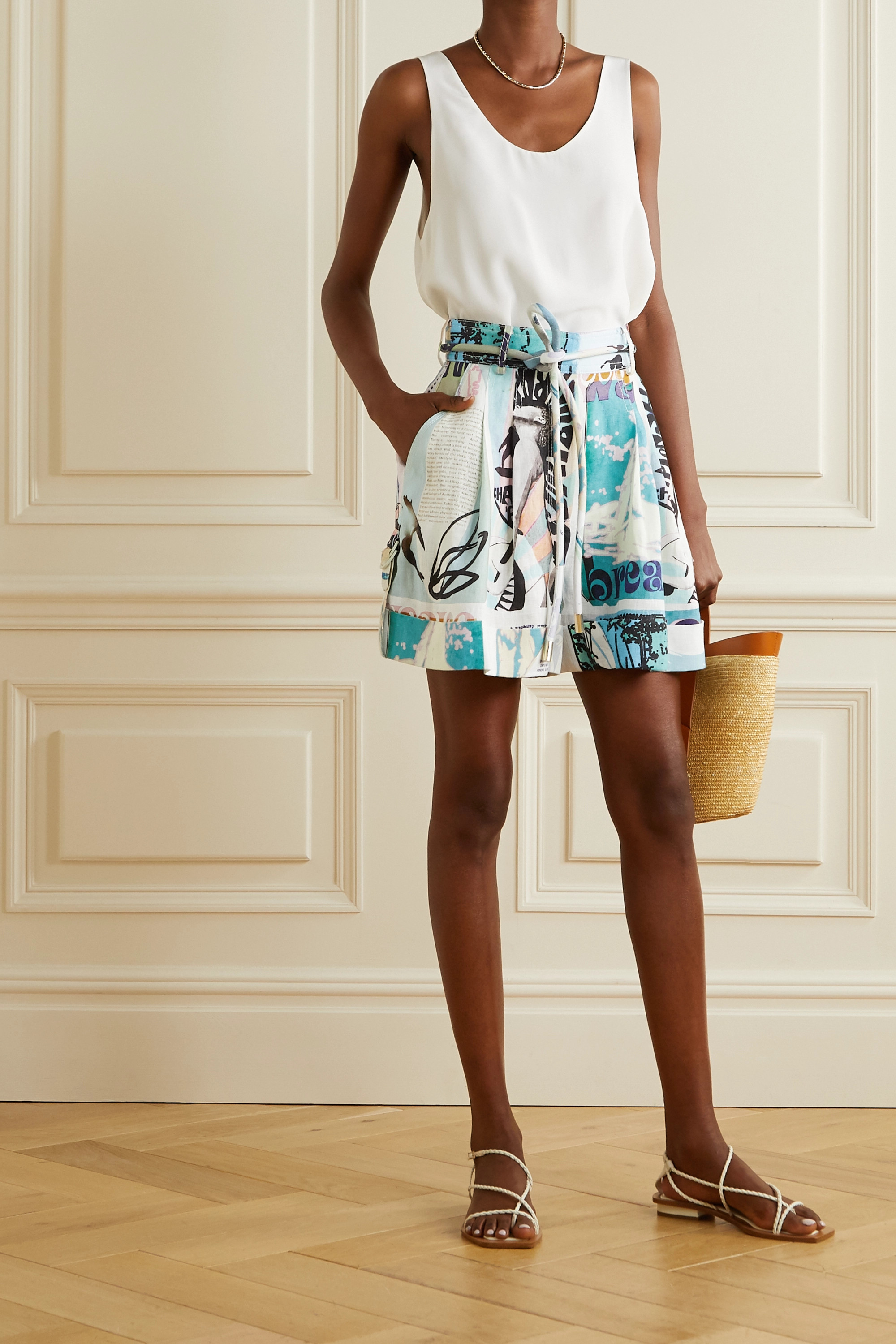 Zimmermann Glassy belted printed linen shorts
