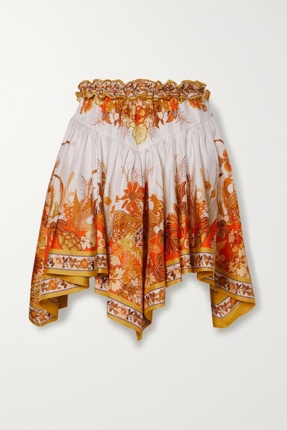 Zimmermann Brightside asymmetric printed silk-twill mini skirt