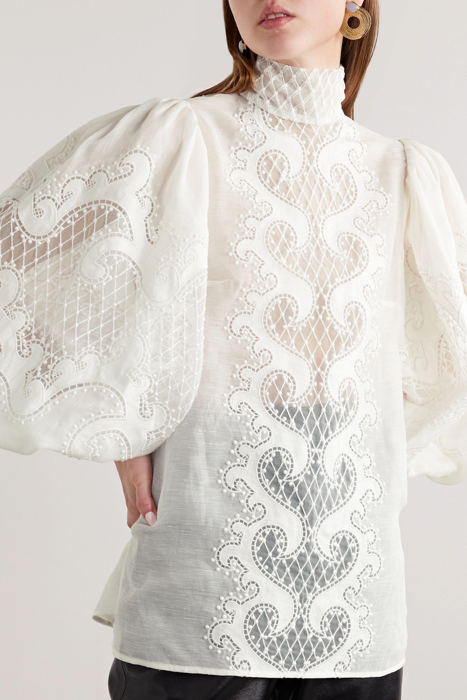 Zimmermann Brightside appliquéd embroidered linen and silk-blend tulle blouse