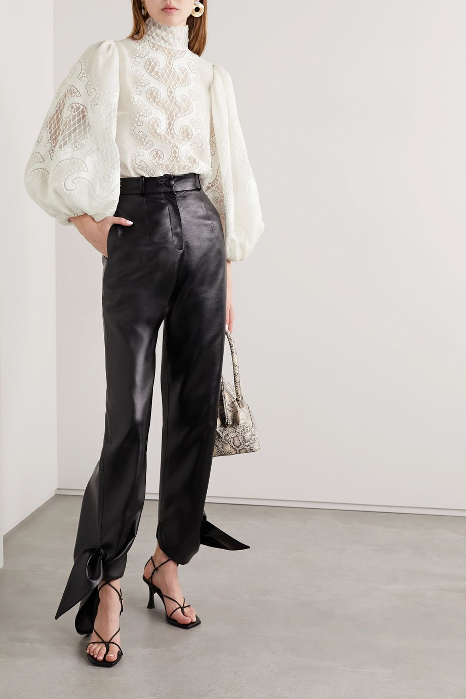Zimmermann Brightside appliquéd embroidered linen and silk-blend tulle blouse