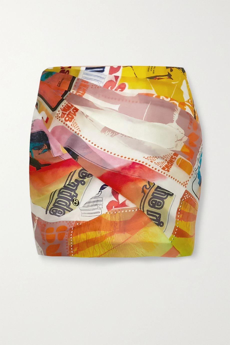 Zimmermann Ruched printed wrap-effect silk-organza mini skirt