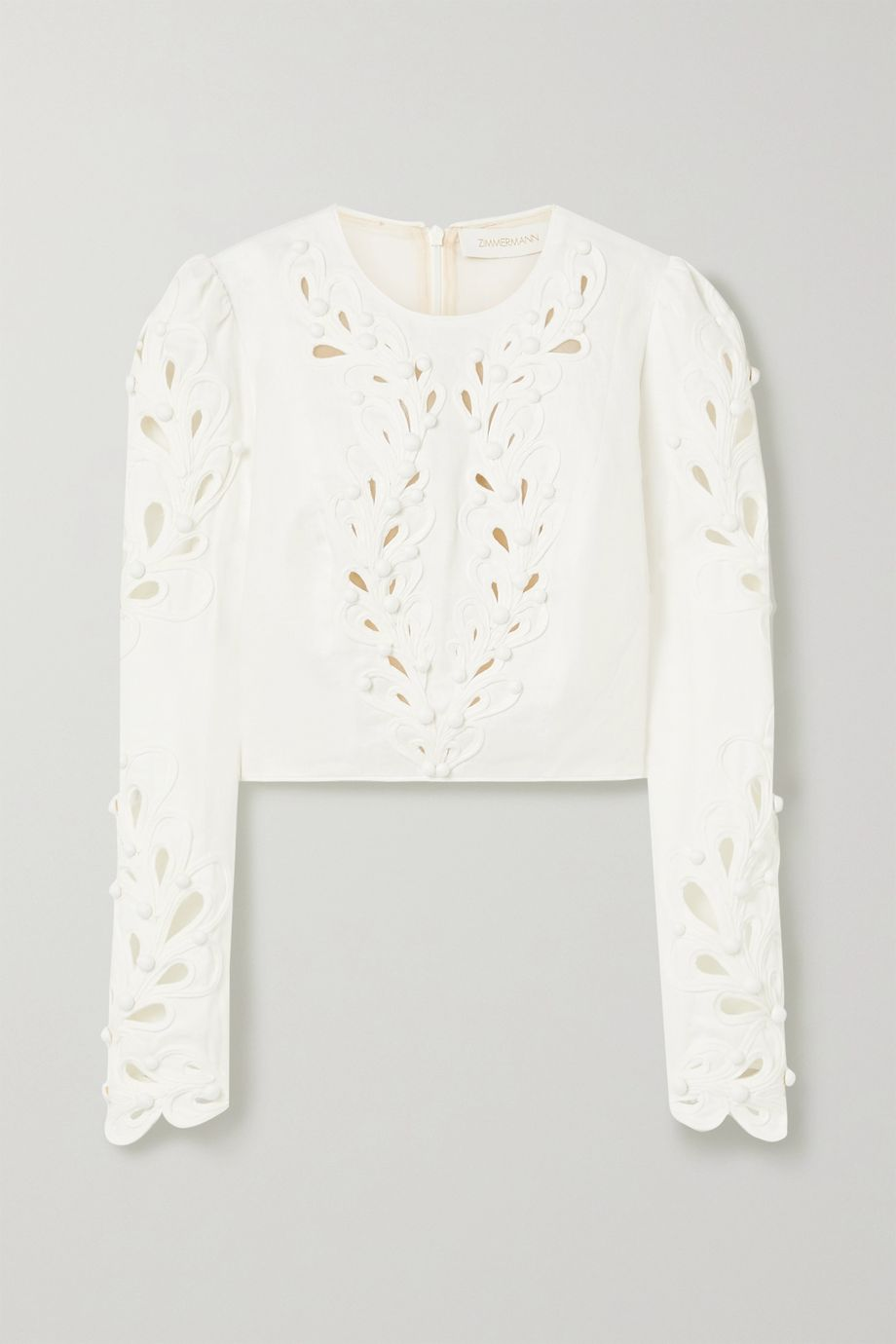 Zimmermann Brightside Rouleaux cropped cutout linen top