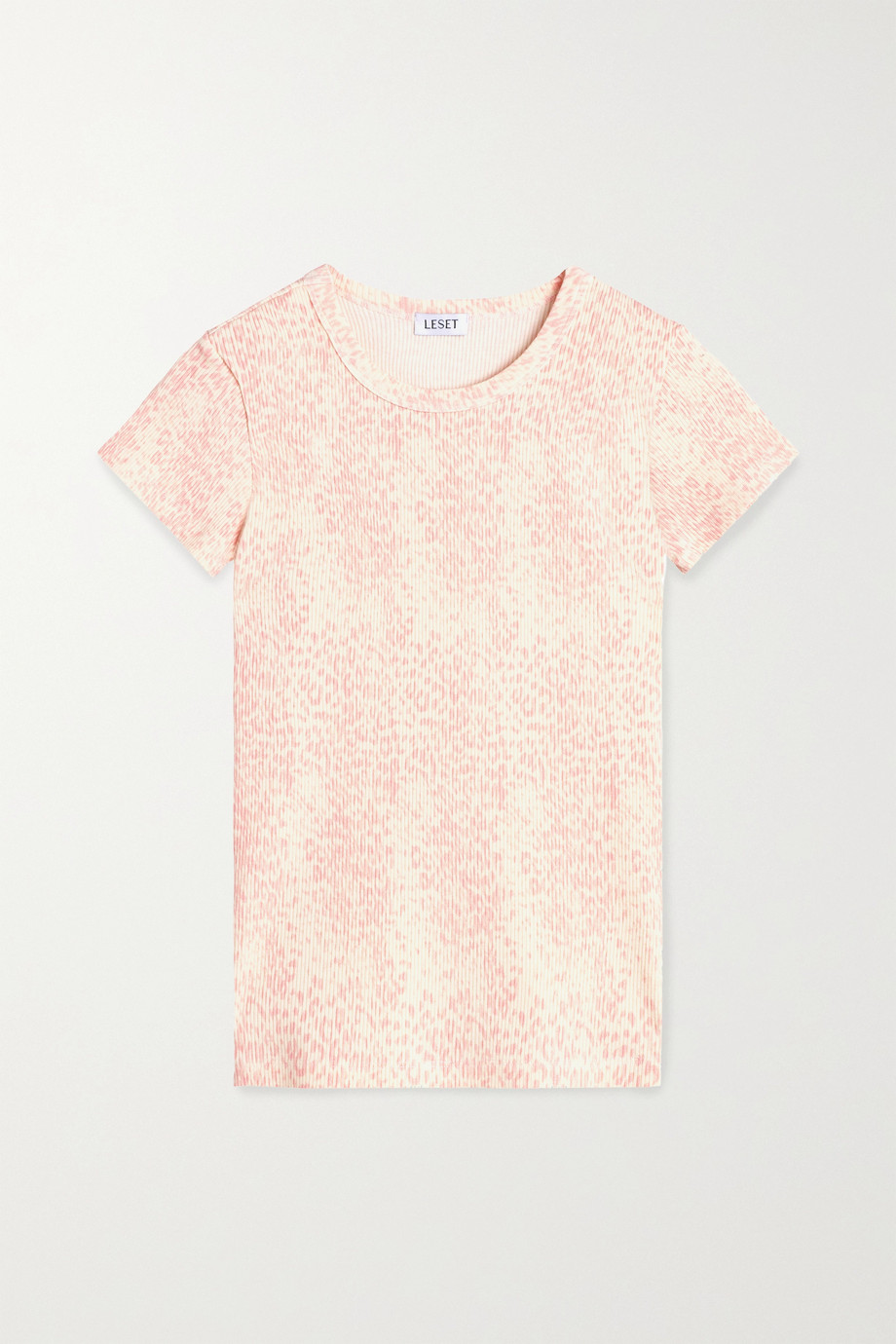 LESET Jamie leopard-print ribbed stretch-modal T-shirt
