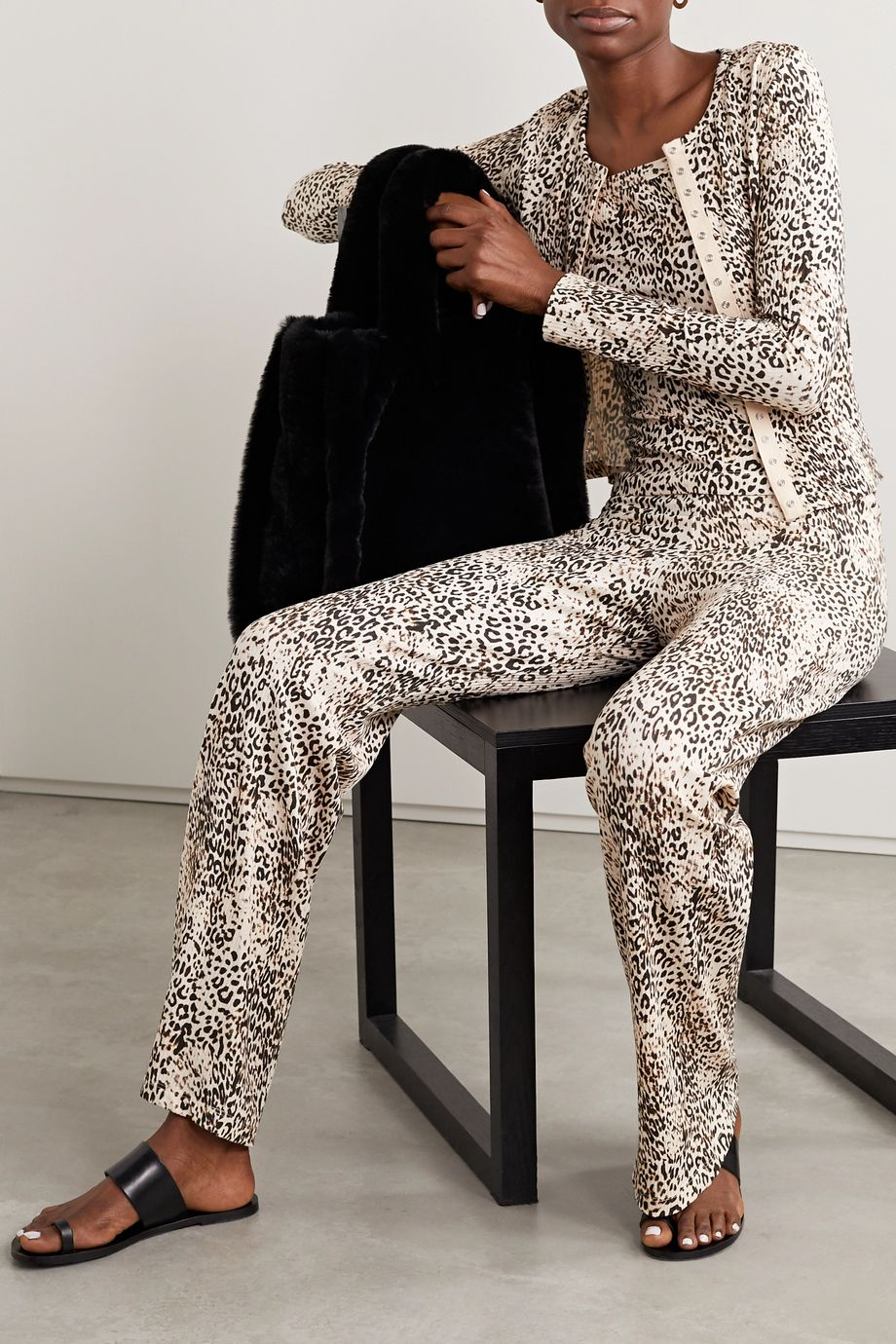 LESET Jamie ribbed leopard-print stretch-modal cardigan