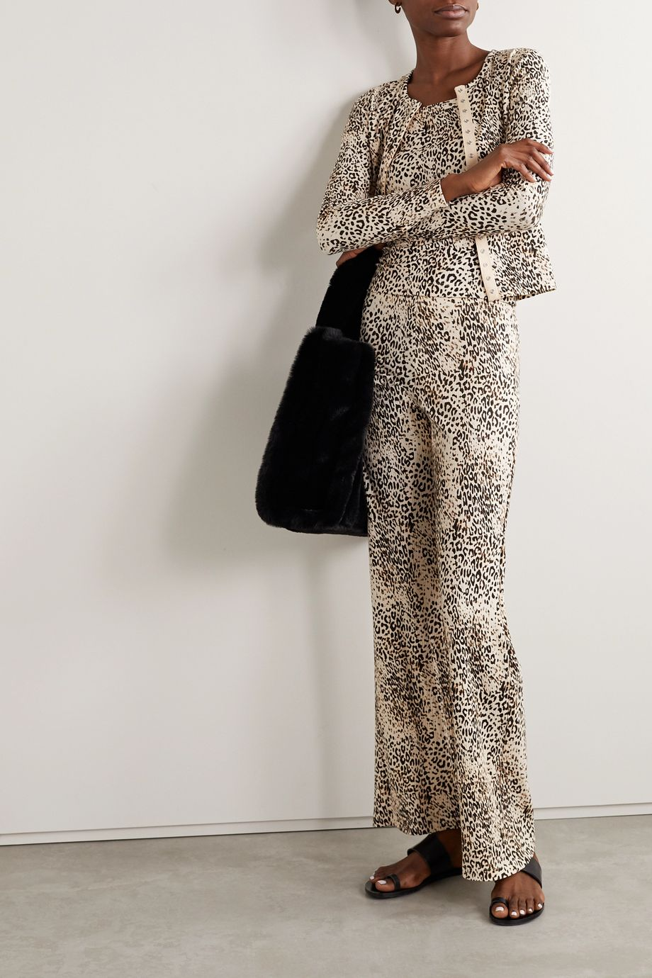 LESET Jamie ribbed leopard-print stretch-modal wide-leg pants