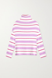 LESET Henry oversized striped bouclé turtleneck sweater