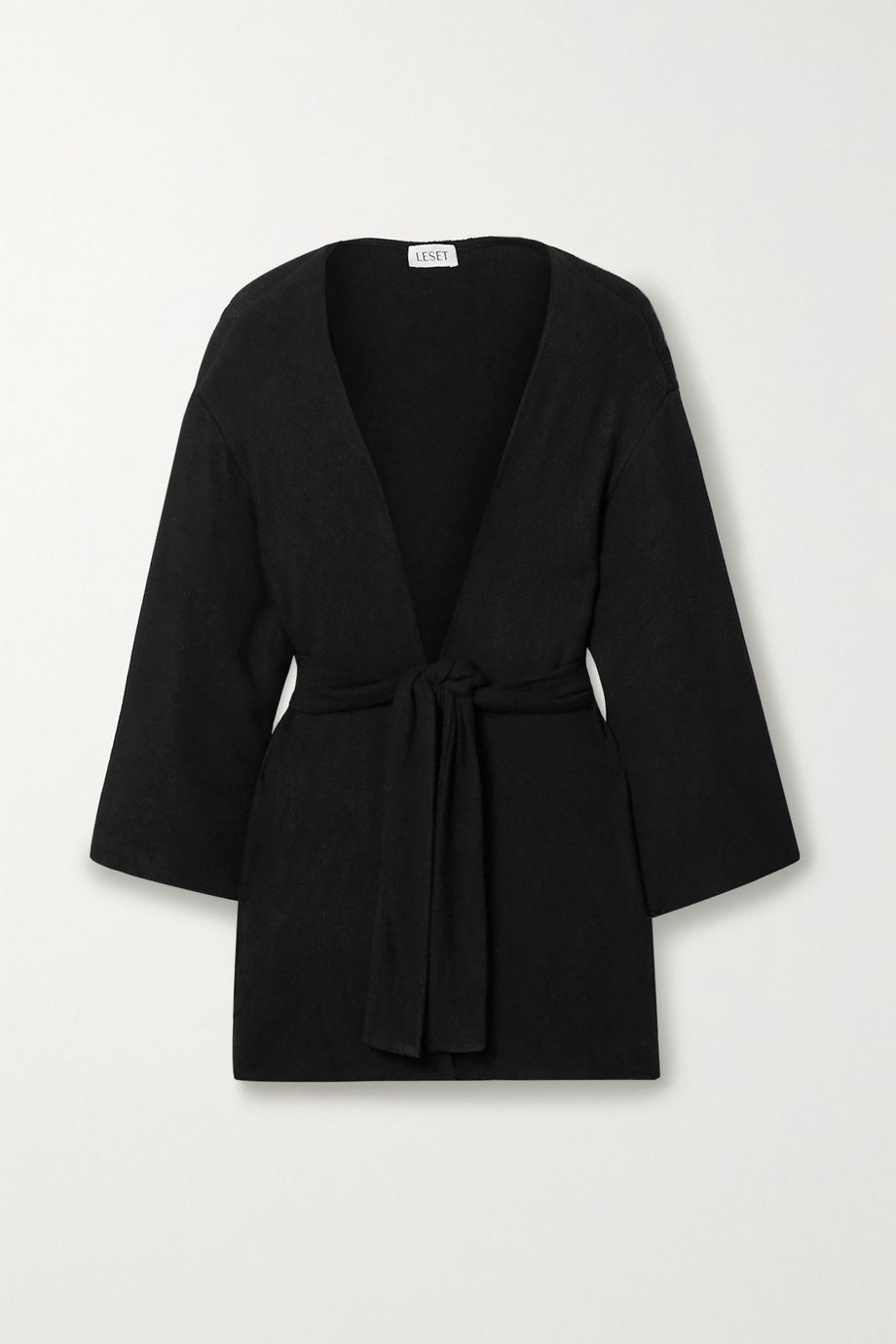 LESET Lori oversized belted brushed stretch-jersey cardigan