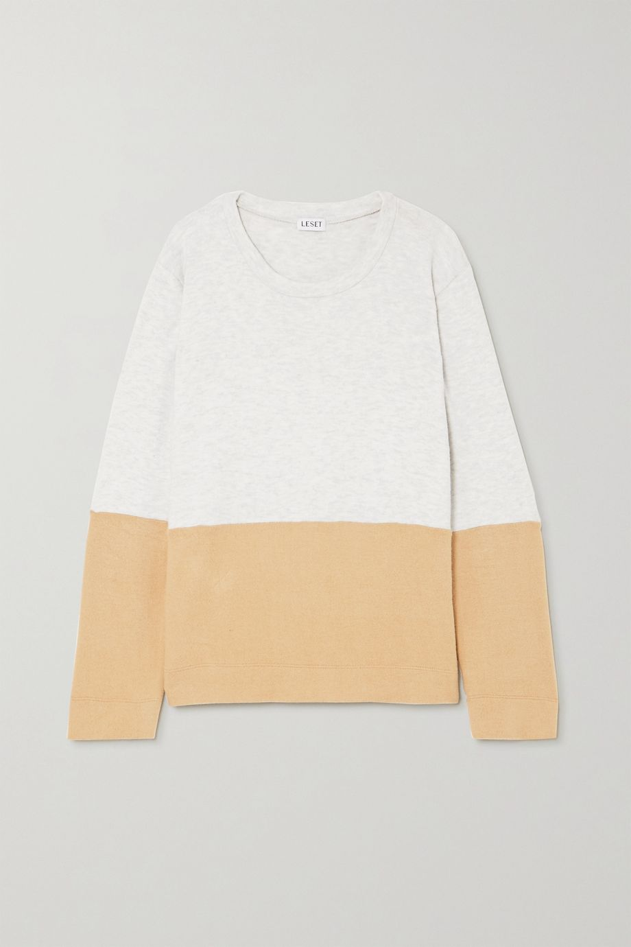 LESET Lori two-tone brushed stretch-knit sweater