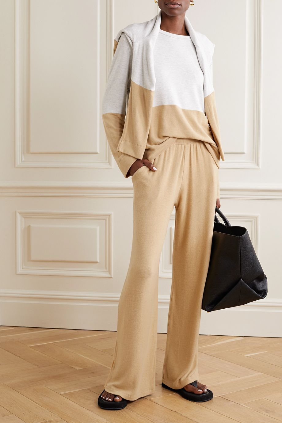 LESET Lori brushed stretch-knit wide-leg pants