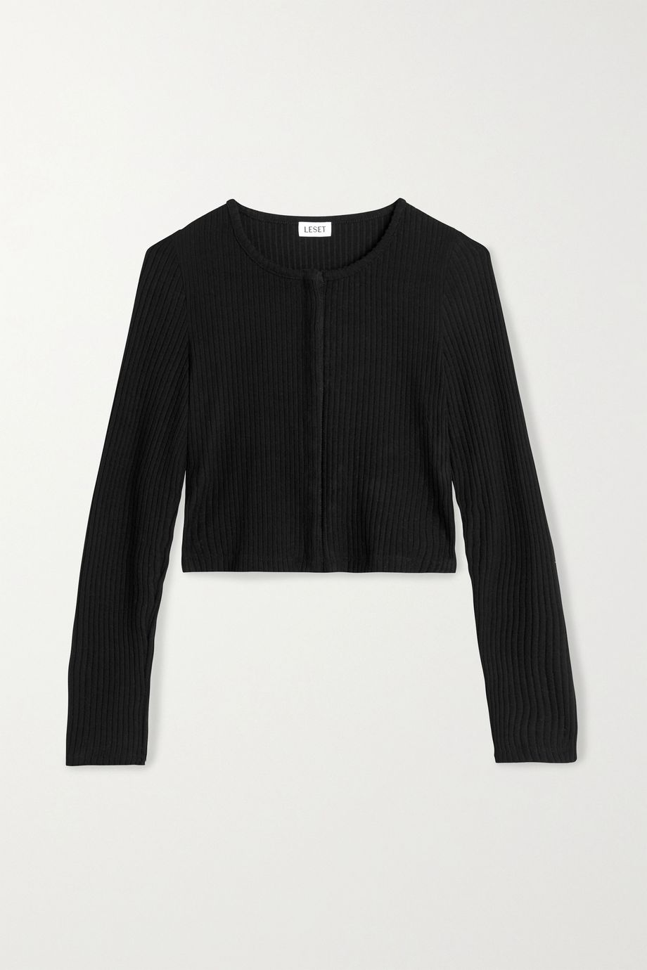 LESET Alison cropped ribbed stretch-knit cardigan