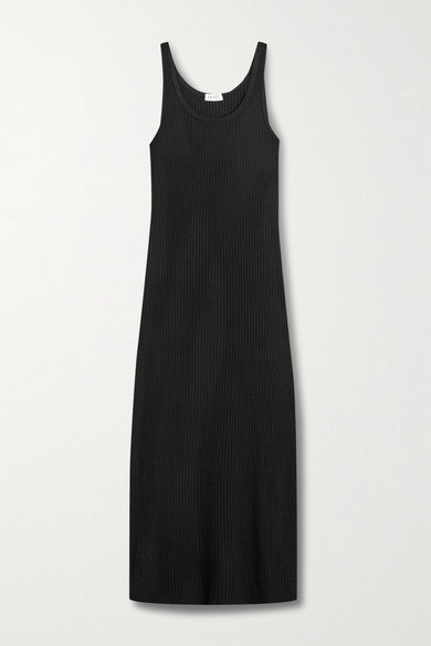LESET - Alison Ribbed-knit Midi Dress - Black