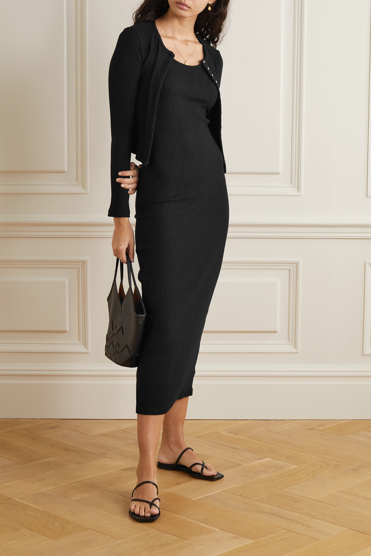Black Alison Ribbed-knit Midi Dress | Leset