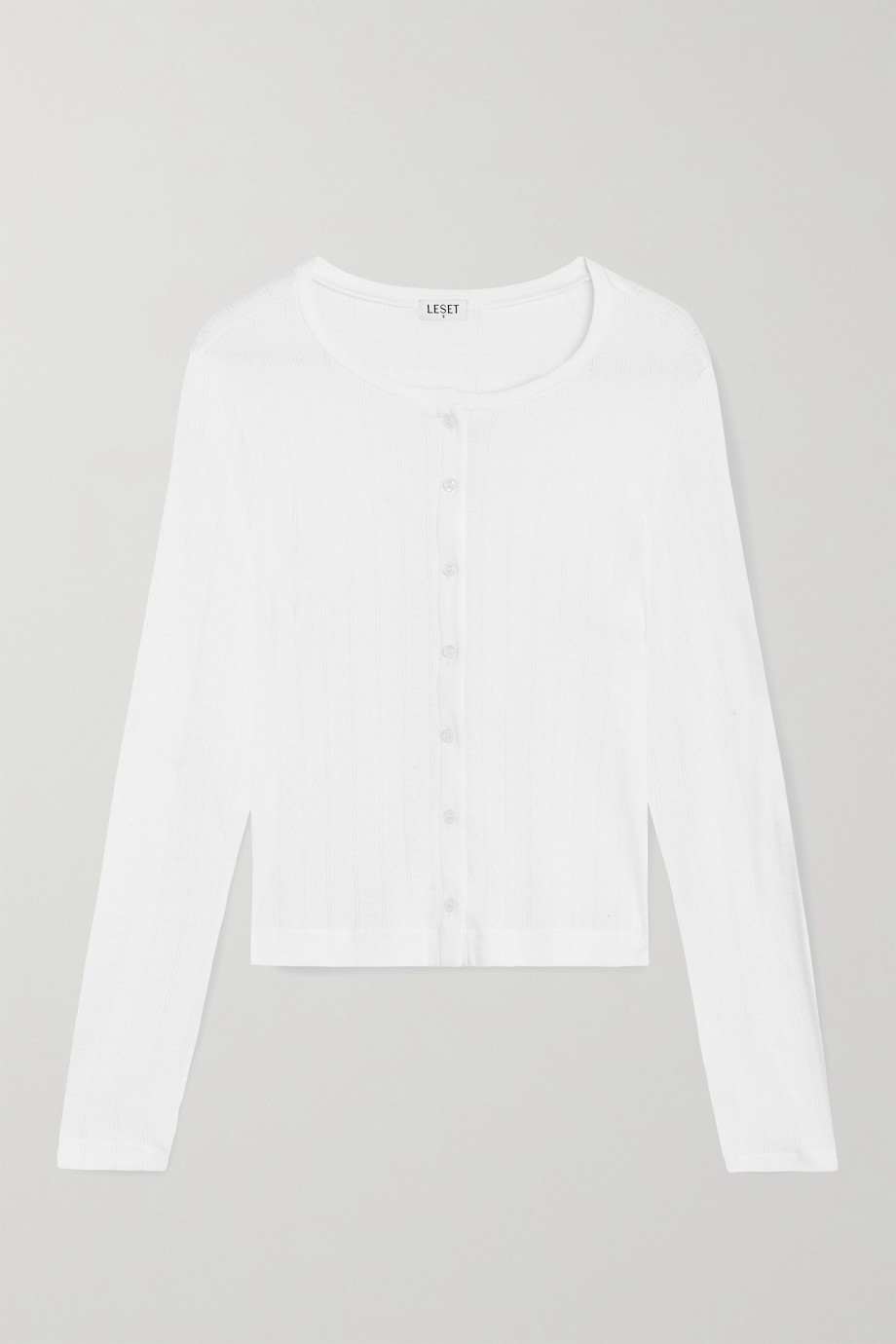 LESET Pointelle-knit cotton-jersey cardigan