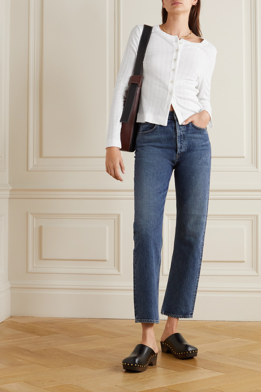 LESET Pointelle-knit cotton-jersey cardigan