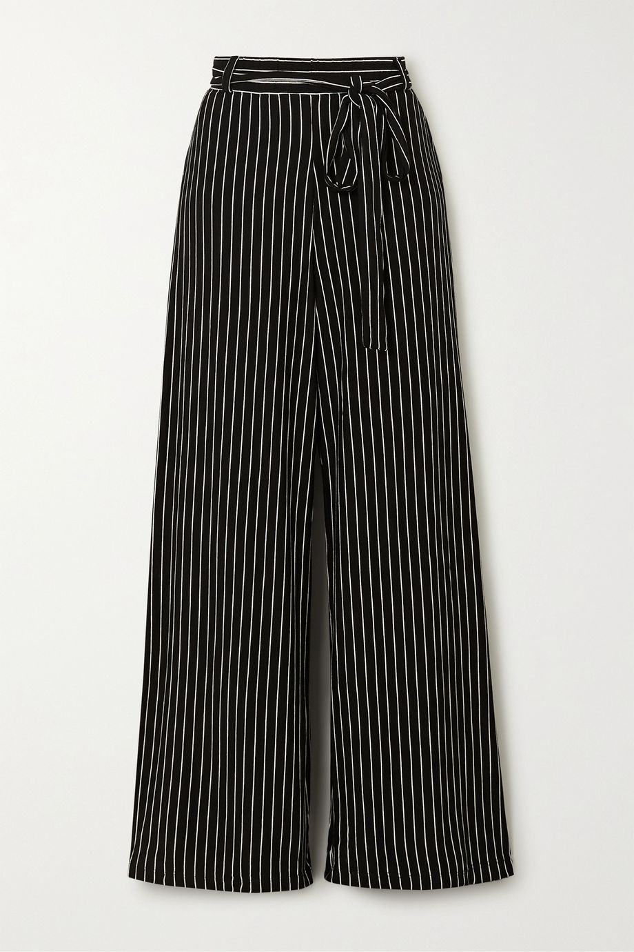 LESET Amber belted pinstriped stretch-jersey wide-leg pants