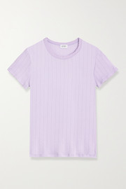 LESET Pointelle-knit cotton T-shirt