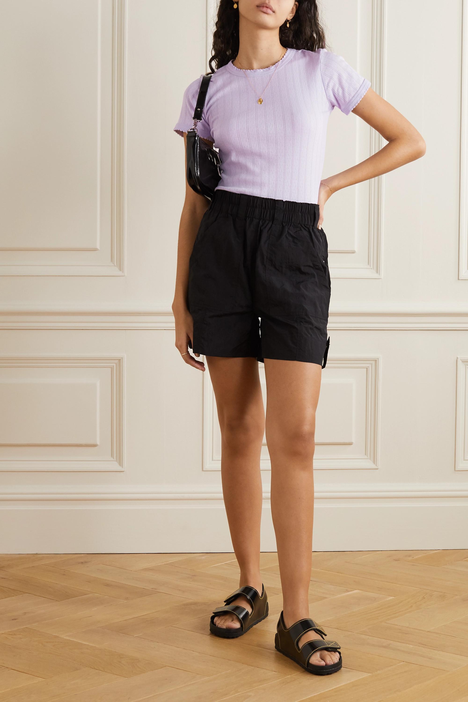 LESET Pointelle-knit cotton T-shirt