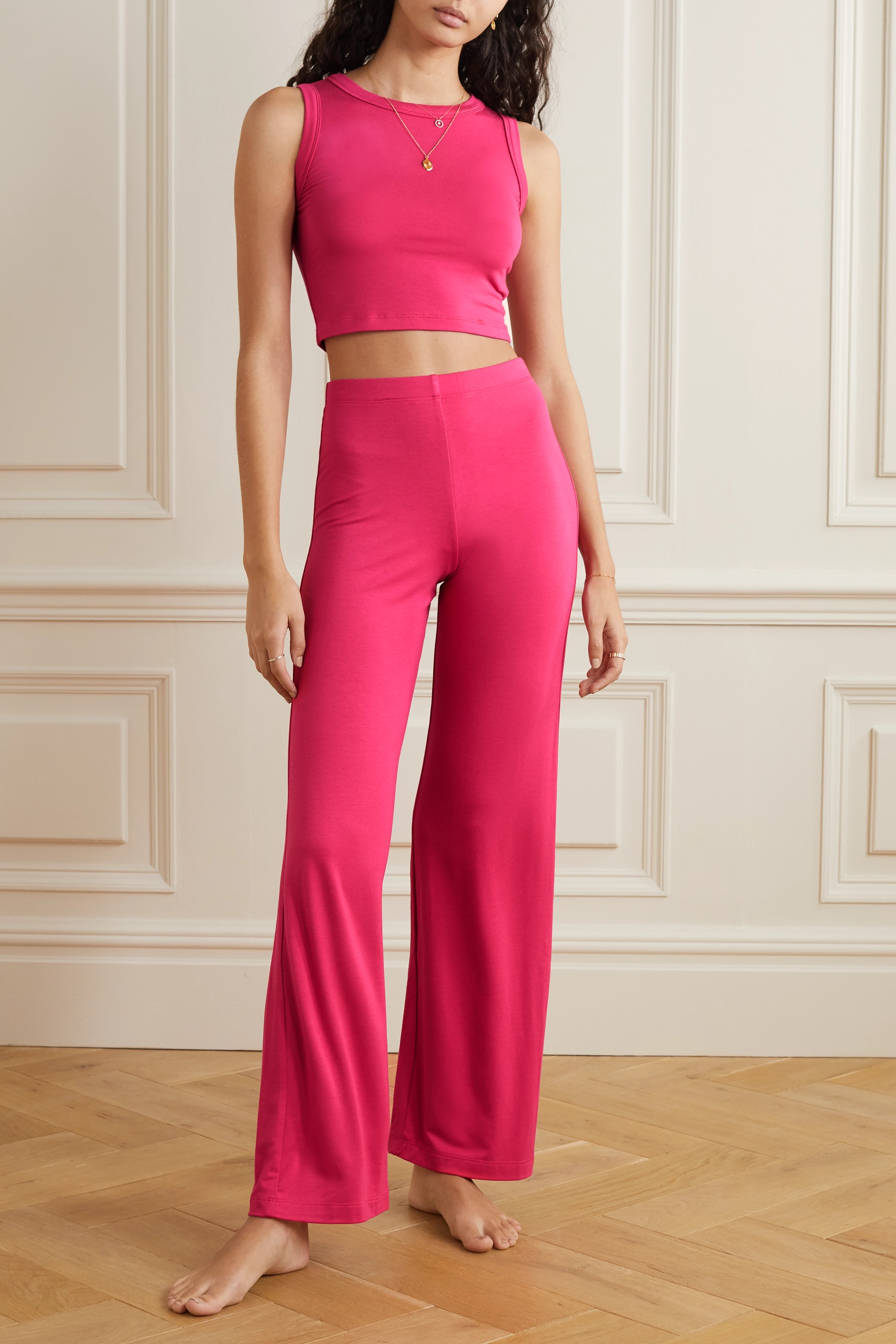 LESET Cropped stretch-terry tank