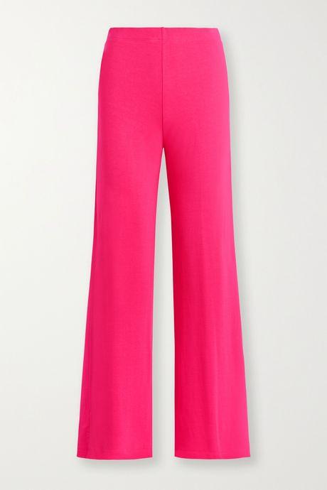 Bright pink Strech-terry wide-leg pants   LESET 2NWZOr