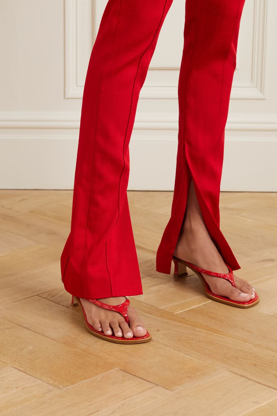 Sies Marjan Alix croc-effect patent-leather sandals