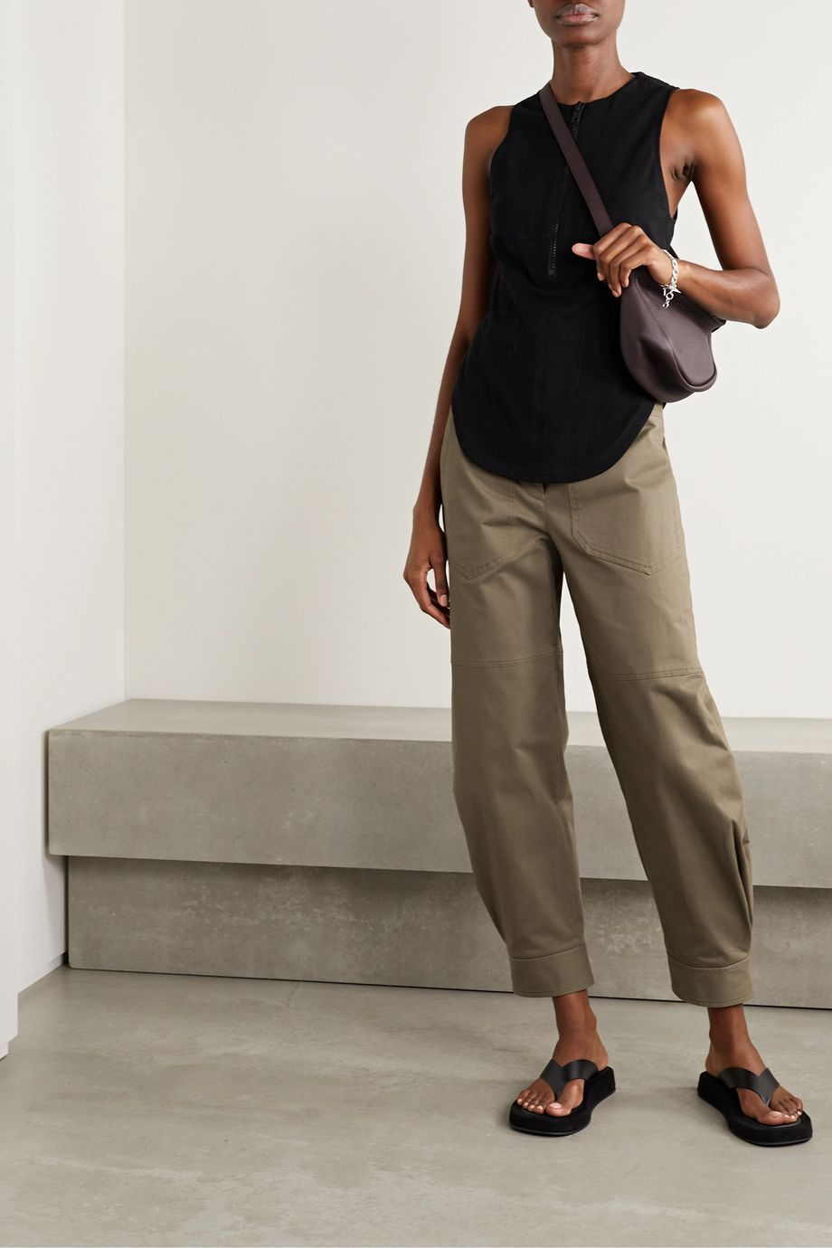 Tibi Myriam 棉质混纺斜纹布锥形裤
