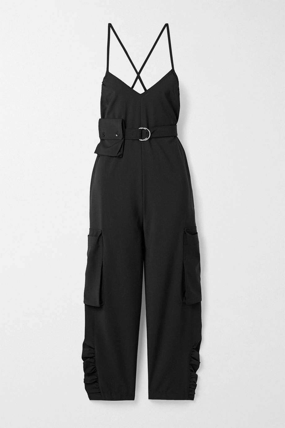 Tibi Tropical belted woven jumpsuit