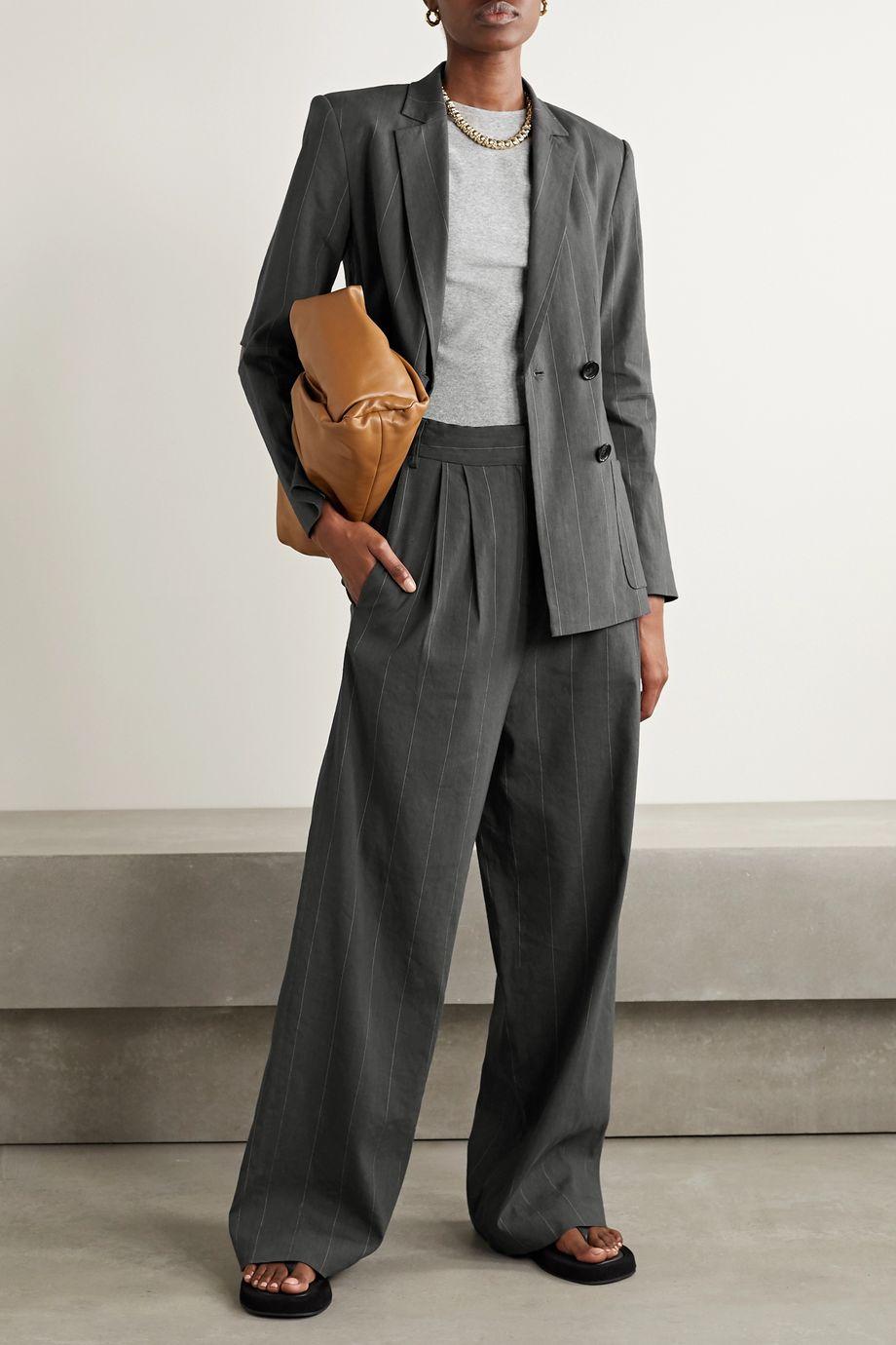 Tibi Isselin cutout pinstriped linen-blend blazer