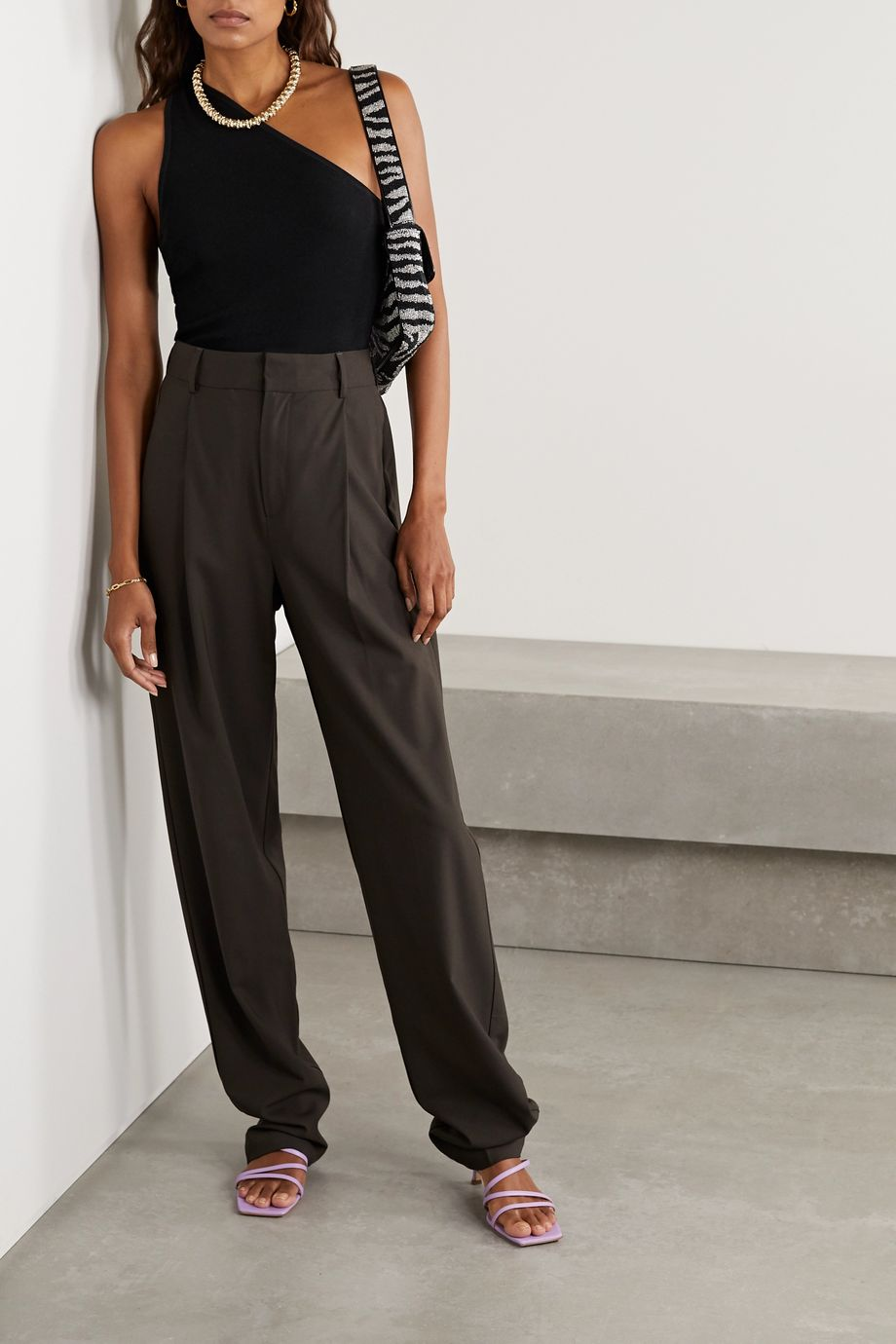 Tibi Giselle one-shoulder ribbed stretch-knit top