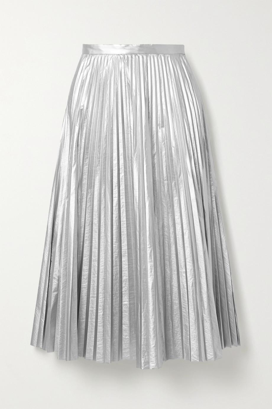 Tibi | Pleated metallic shell midi skirt | NET-A-PORTER.COM