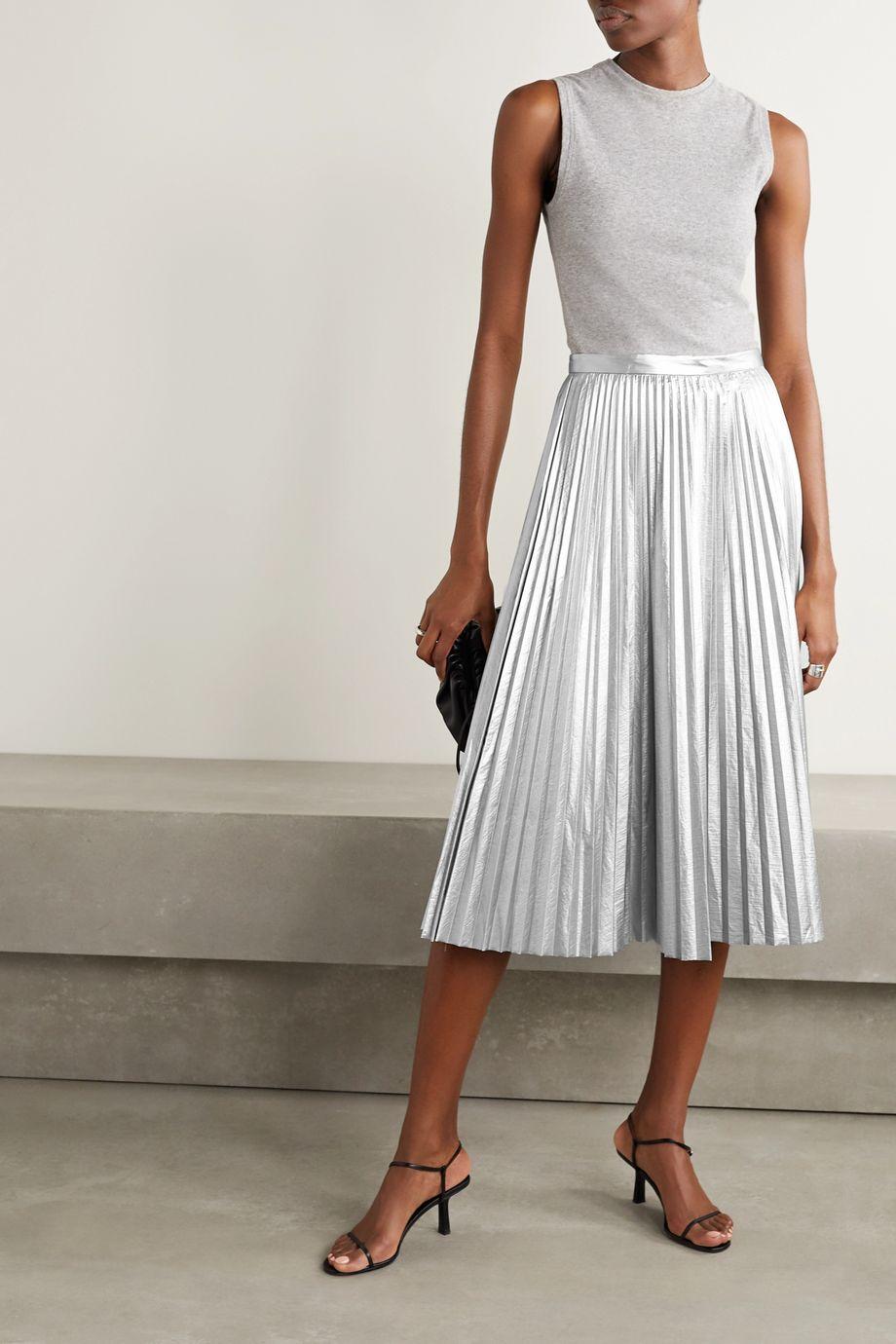 Tibi Pleated metallic shell midi skirt