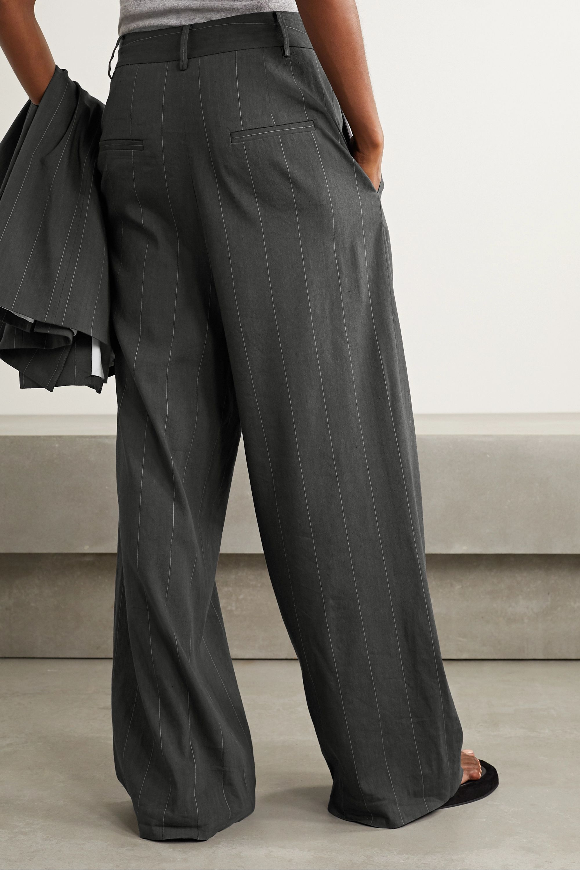 Tibi Isselin Stella pleated pinstriped linen-blend wide-leg pants