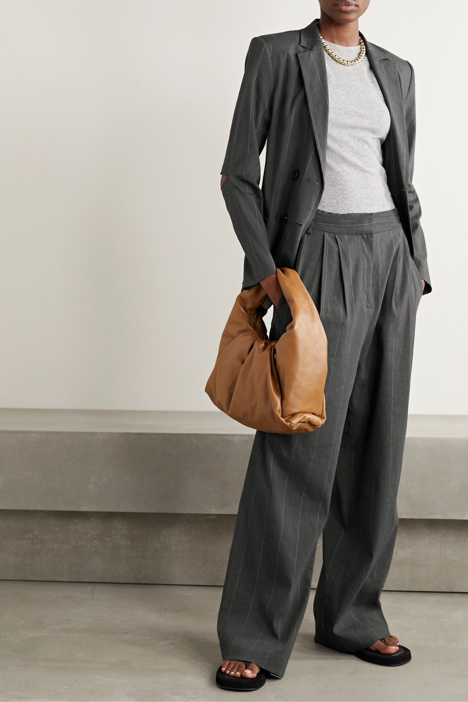 Tibi Isselin Stella pleated pinstriped linen-blend wide-leg pants