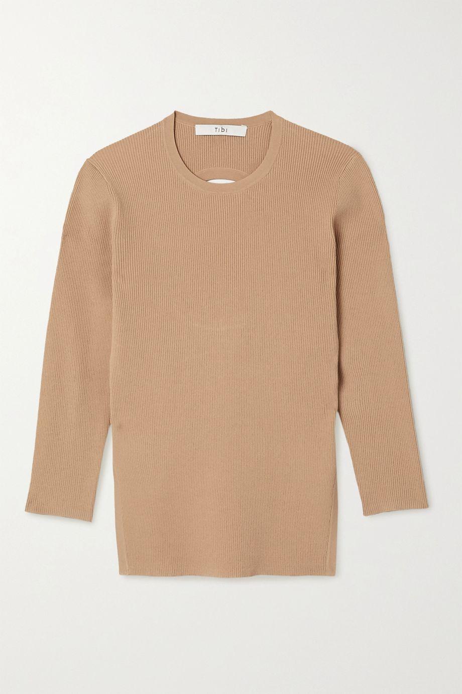 Tibi Giselle cutout ribbed-knit sweater