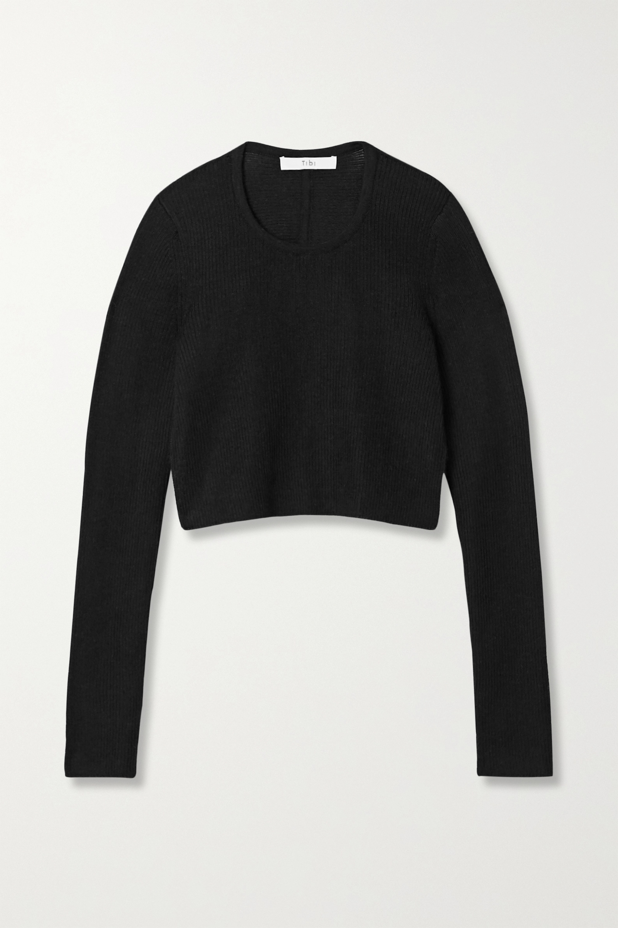 Open-back cropped ribbed alpaca sweater