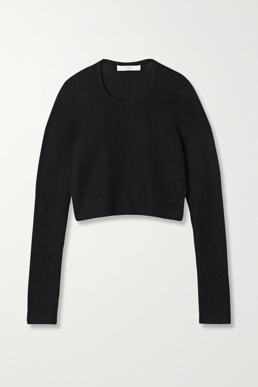 Tibi Open-back cropped ribbed alpaca sweater
