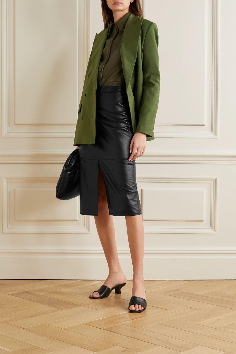 Tibi Leather midi skirt