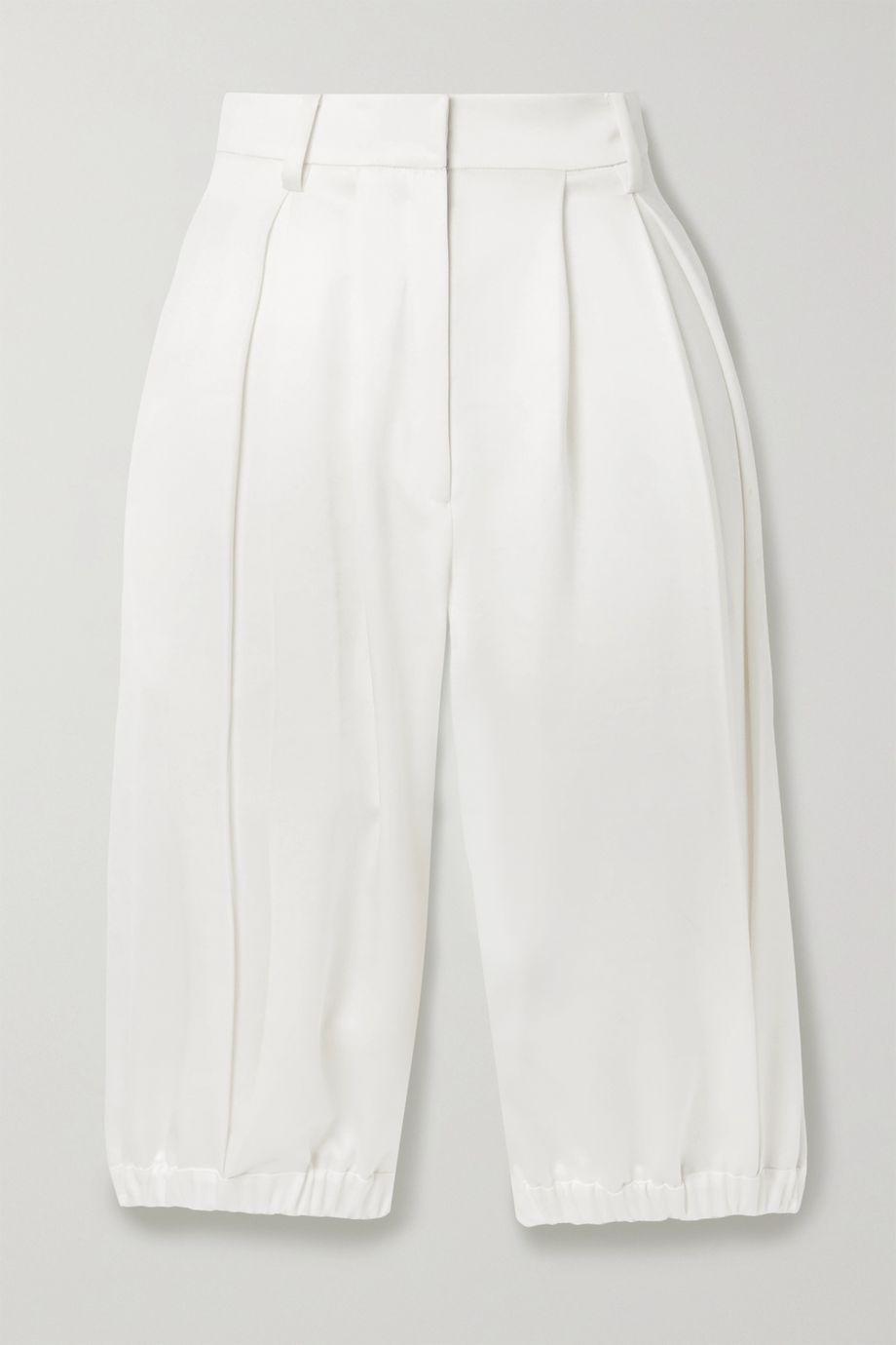 Tibi Celia pleated satin shorts