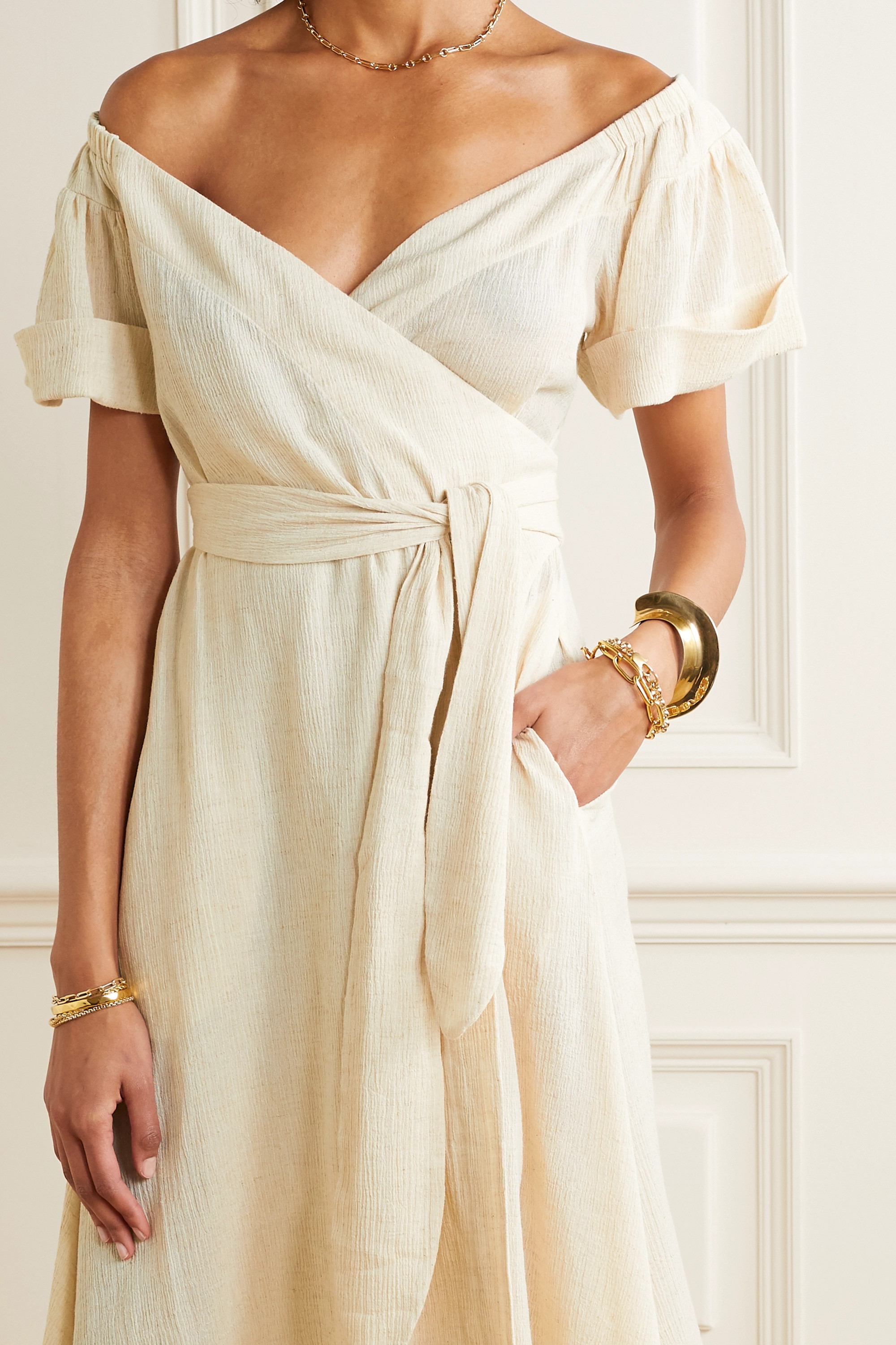 Mara Hoffman Adelina organic cotton and linen-blend wrap midi dress
