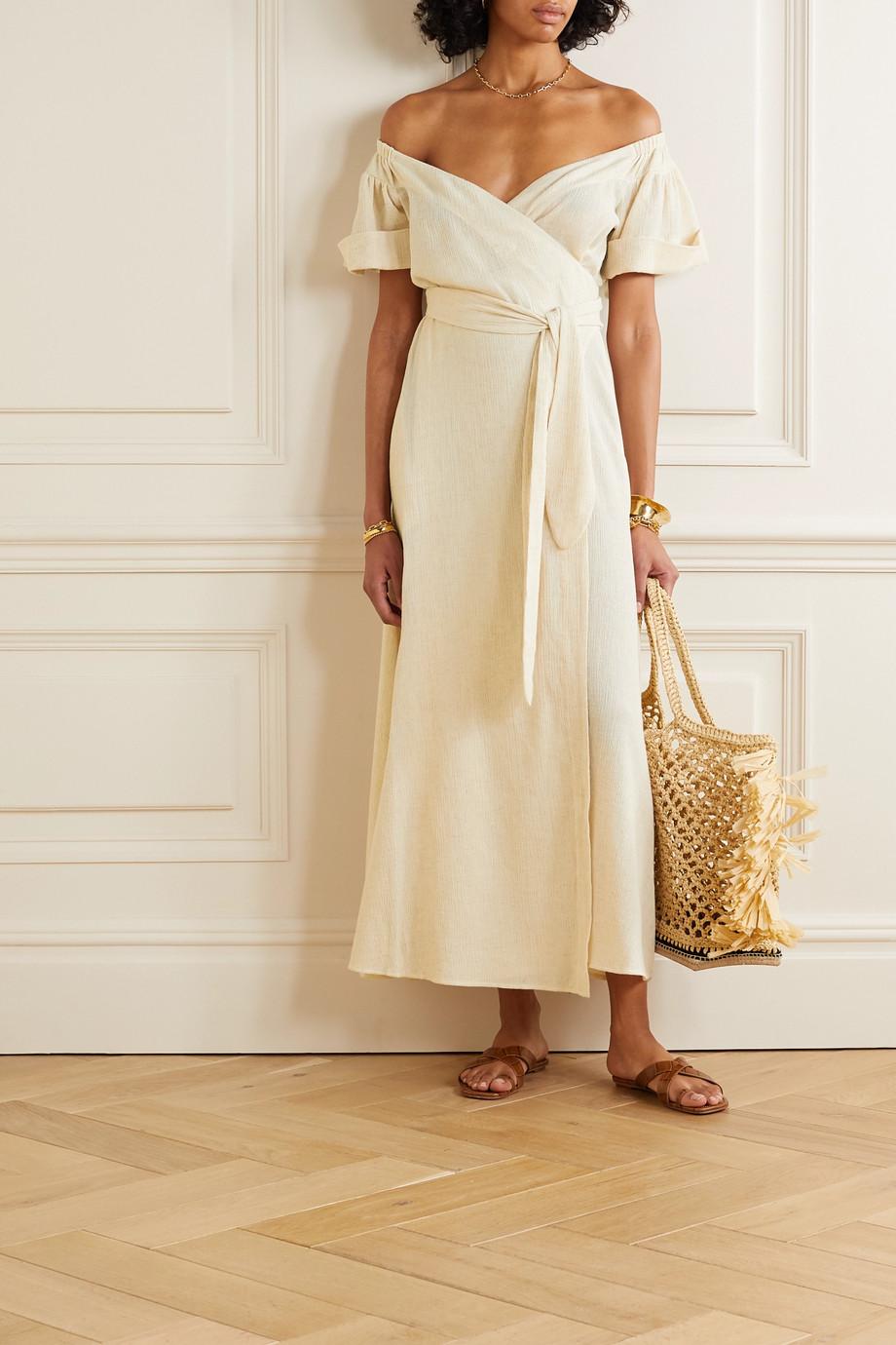 Mara Hoffman Adelina 有机棉麻混纺中长裹身连衣裙