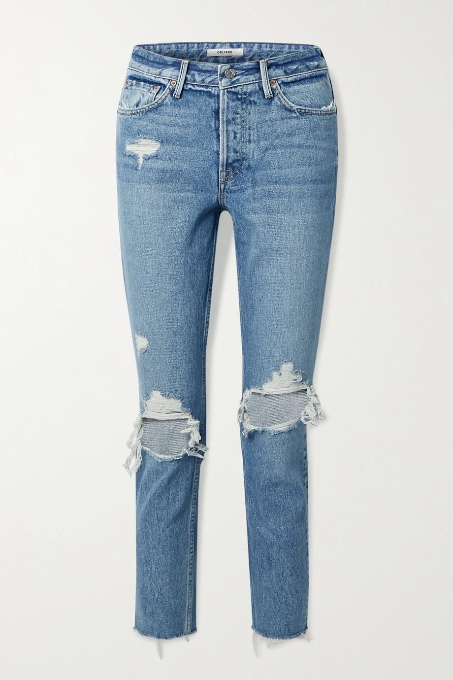 GRLFRND Karolina cropped distressed high-rise skinny jeans