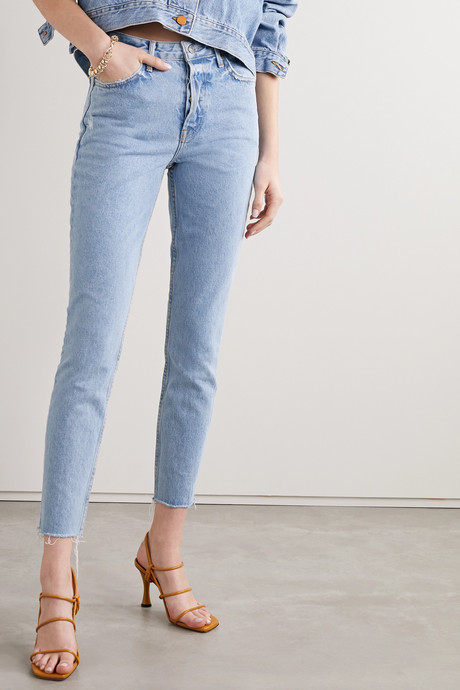 Karolina frayed high-rise skinny jeans