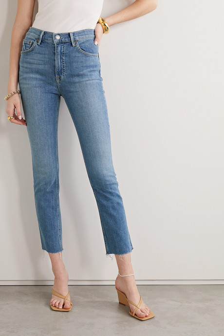 Reed frayed cropped high-rise slim-fit jeans
