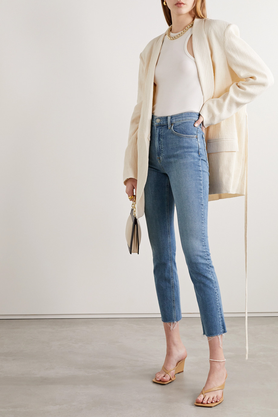 GRLFRND Reed frayed cropped high-rise slim-fit jeans