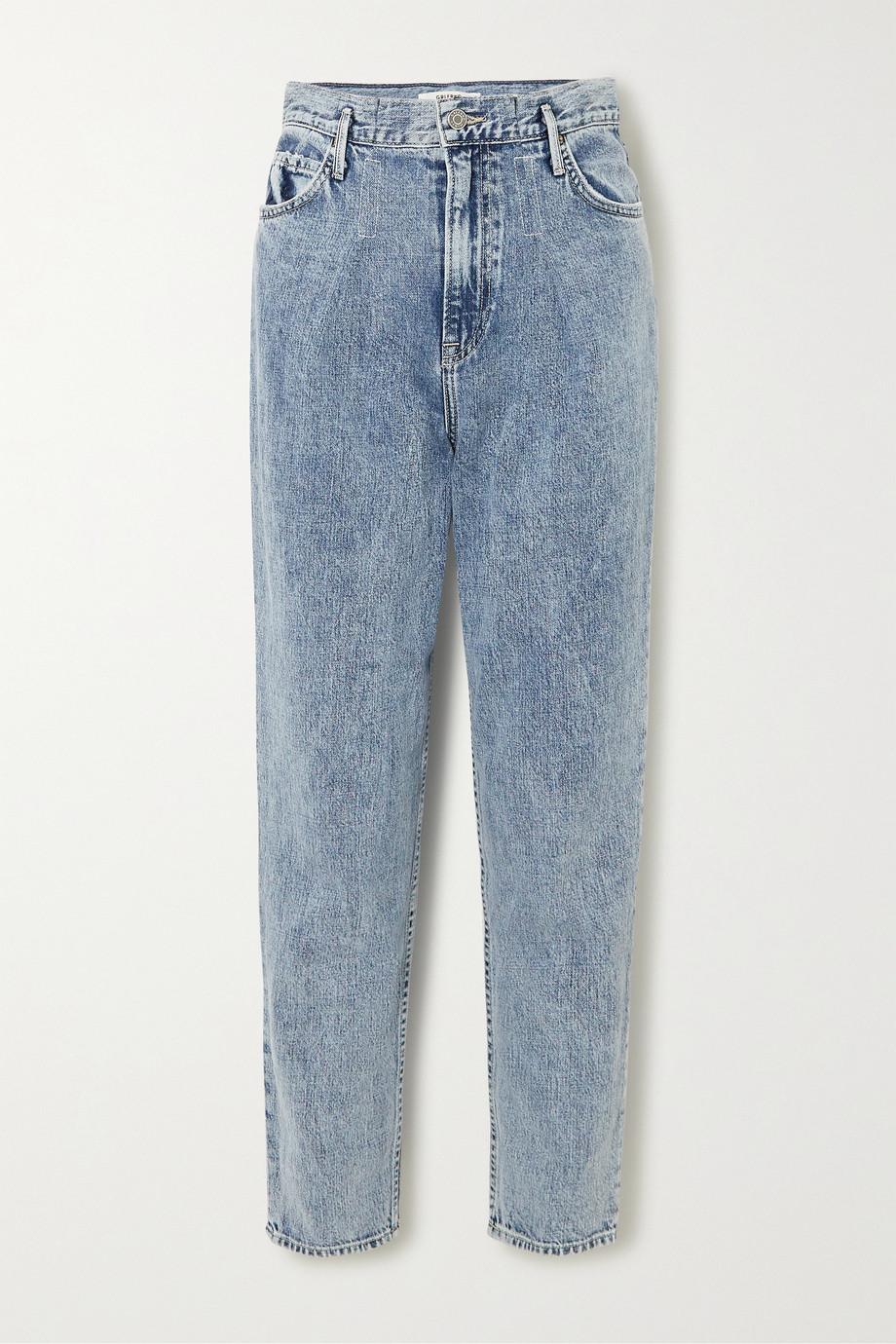 GRLFRND Teagan pleated high-rise straight-leg jeans