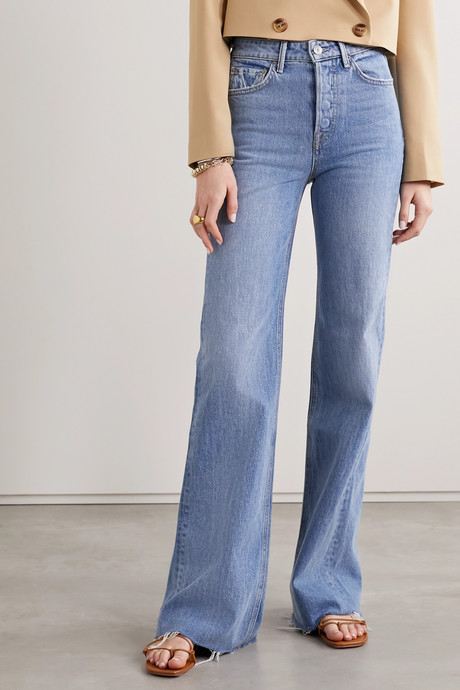 Carla frayed high-rise wide-leg jeans