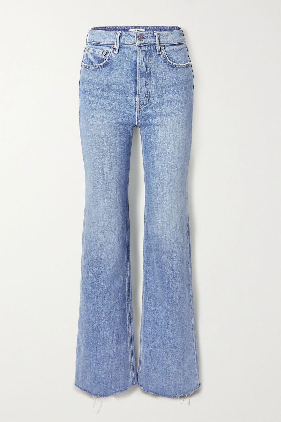 GRLFRND Carla frayed high-rise wide-leg jeans